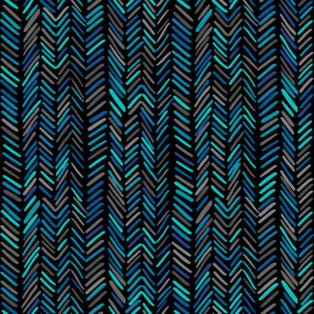 Herringbone pattern. Hand drawn seamless background. Vector illustration with wavy stripes.