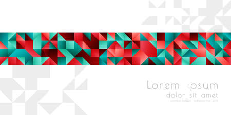 Abstract background with triangle texture border in green and red colors Vettoriali