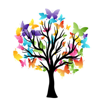 Tree with flying around color butterflies. Vector isolated decoration element from scattered silhouettes. Conceptual illustration of growth and life .. Ilustración de vector