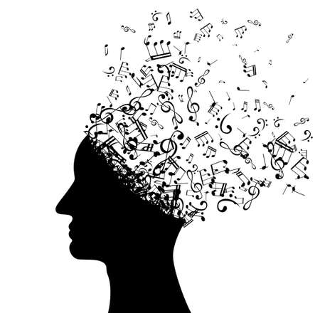 Head with flying notes. Vector isolated decoration element from scattered silhouettes. Conceptual illustration of creative thinking, brainpower and innovation exploration ..