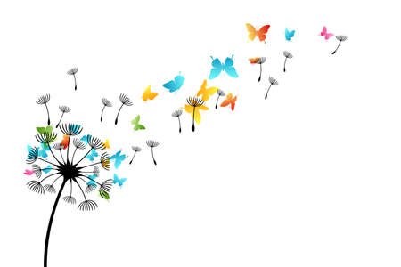 Dandelion with flying color butterflies and seeds. Vector isolated decoration element from scattered silhouettes. Conceptual illustration of freedom and serenity ..