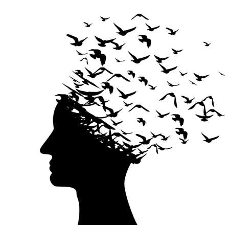 Head with flying birds. Vector isolated decoration element from scattered silhouettes. Conceptual illustration of creative thinking, brainpower and innovation exploration ..