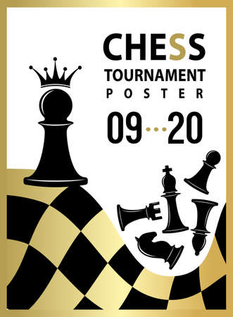 Chess tournament poster. Vector banner with pawn to qeen concept. Vector flyer template. Vettoriali