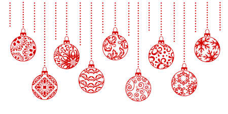 Christmas ornaments collection. Horizontal garland from ornate balls ..
