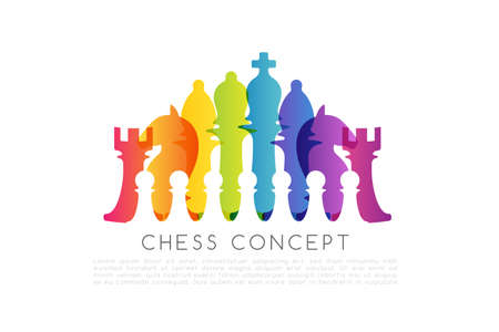 Chess colorful leadership or strategy conceptual illustration .. Vettoriali