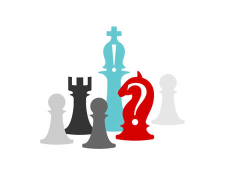 Business conceptual illustration with chess symbols. Horse with question mark and bishop with exclamation mark ..