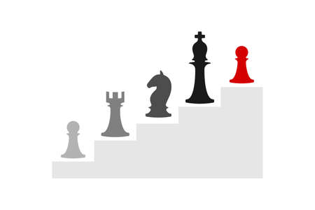 Business conceptual illustration with chess symbols. Infographic steps of progress ..