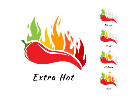 Chili pepper with fire. Spicy levels emblems. Vector design elements ..