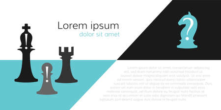 Business conceptual illustration with chess symbols. Horse with question mark and bishop and pawn with exclamation marks ..