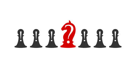 Business conceptual illustration with chess symbols. Pawns with exclamation marks and horse with question ..