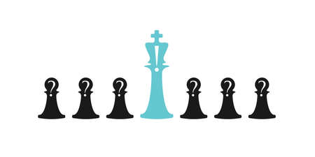 Business conceptual illustration with chess symbols. Pawns with question marks and bishop with answer ..