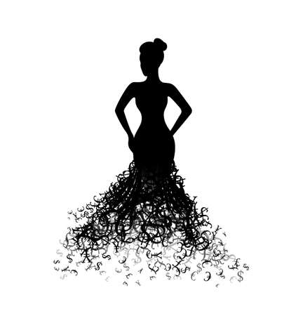 Woman with dress from money. Vector decoration from scattered elements. Monochrome isolated silhouette. Conceptual illustration .. Vector Illustratie