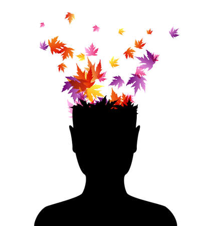 Man head with flying colorful autumn leaves. Vector decoration from scattered elements. Colorful isolated silhouette. Conceptual illustration .. Vetores