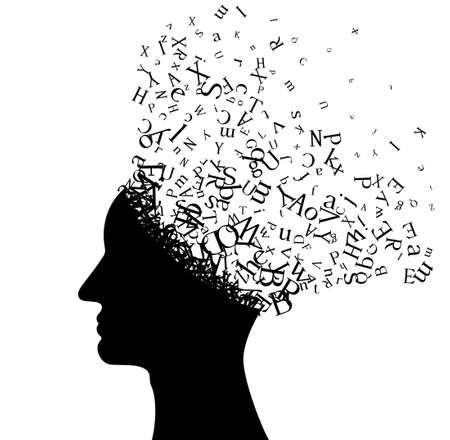 Man head with flying letters. Vector decoration from scattered elements. Monochrome isolated silhouette. Conceptual illustration .. Vetores