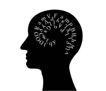 Man head with brain from letters. Vector decoration from scattered elements. Monochrome isolated silhouette. Conceptual illustration ..