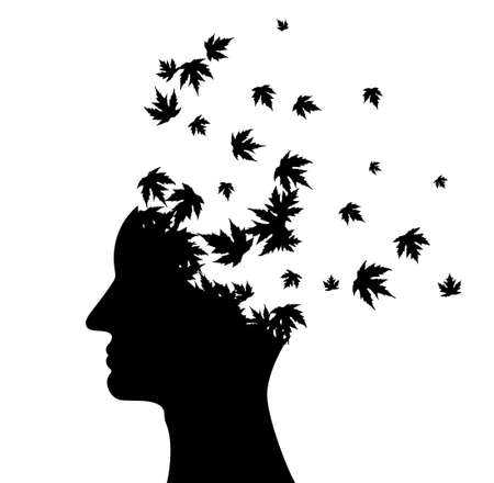Man head with flying maple leaves. Vector decoration from scattered elements. Monochrome isolated silhouette. Conceptual illustration ..