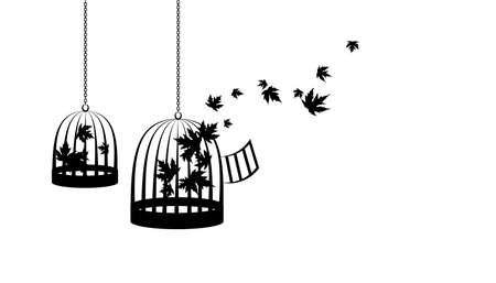Birdcages with flying up maple leaves. Vector decoration from scattered elements. Monochrome isolated silhouette. Conceptual illustration .. Illustration