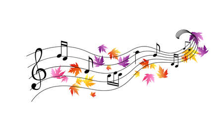 Music notes with flying colorful autumn leaves. Vector decoration from scattered elements. Colorful isolated silhouette. Conceptual illustration ..