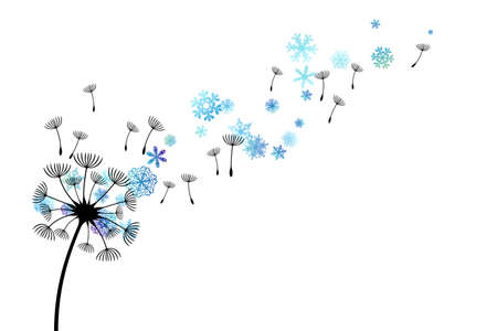 Dandelion with flying snowflakes and seeds. Vector decoration from scattered elements. Winter design elements.