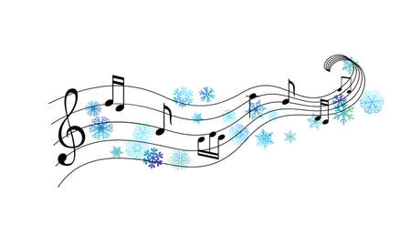 Music notes with flying snowflakes. Vector decoration from scattered elements. Winter design elements.