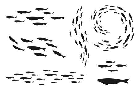 Colony of swiming sea or aquarium fishes. Group of silhouettes. Collection of isolated vector decoration ..