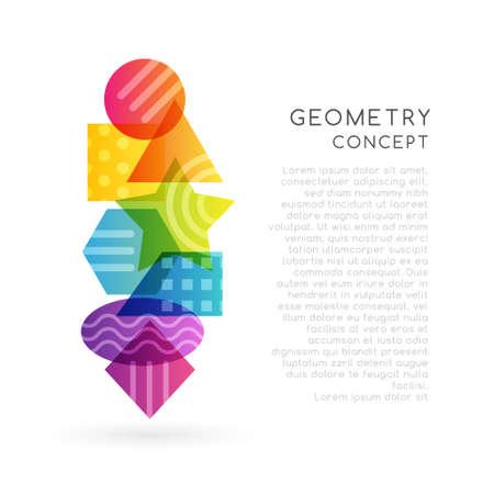 Geometrical colorful decoration. School conceptual vector vertical illustration .. 矢量图像