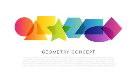 Geometrical colorful decoration. School conceptual horizontal vector illustration .. 矢量图像