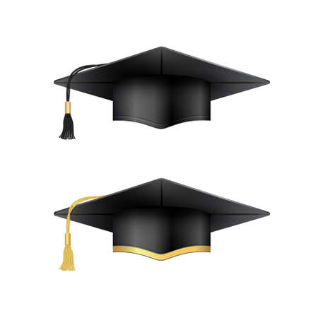 Graduation cap collection. Black and golden variants.