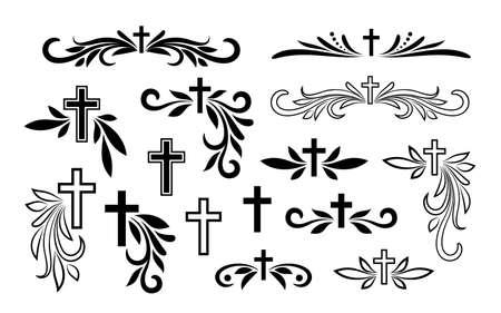 Funeral ornamental decorations. Vector memorial design elements. Border, divider, ribbon, frame and corner Vettoriali