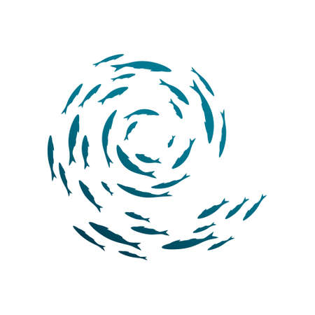 Colony of swiming sea or aquarium fishes. Group of color silhouettes. Isolated vector swirl decoration. Top view .. Ilustración de vector