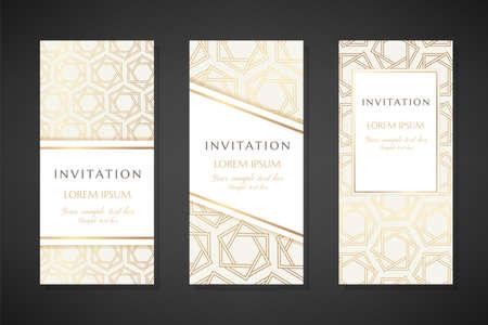 Golden hexagon stars. Invitation templates. Cover design with ornaments. Ilustração Vetorial