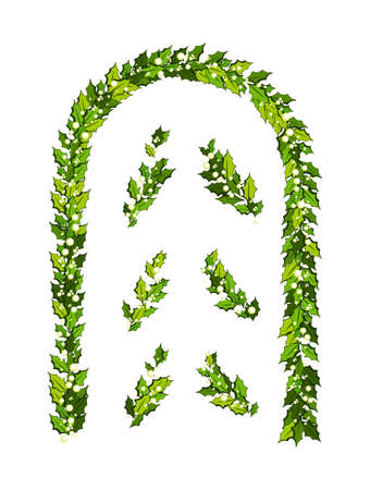 Christmas decorations with holly leaves and white berries. Vertical arch with design elements Illustration for xmas and new year design Vektoros illusztráció