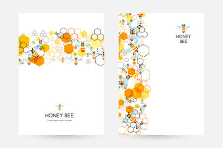 Honeycombs and bee. Design collection of vertical posters with border elements