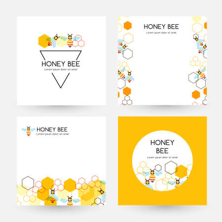 Honeycombs and bee. Design collection of cards with round label, triangle badge and banners with border elements ..