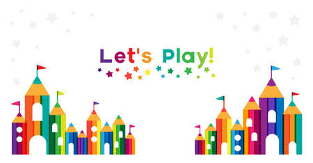 Kids castle from colorful pencils. Childhood fantasy fort with rainbow towers. Horizontal decoration element for design kids club, preschool room or kindergarten. Vetores