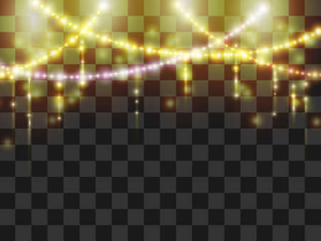 Falling magical shiny sparklers and garland. Glow lights effect on transparent background. Vector top border ..