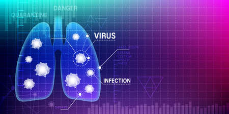 Lung infection vector illustration. Biotechnology abstract background ..
