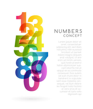 Mathematical colorful decoration element. School conceptual vector vertical illustration from rainbow numbers ..