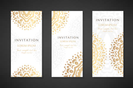 Invitation templates. Cover design with gold ornaments and white background. Vector decorative vertical flayers with copy space ..