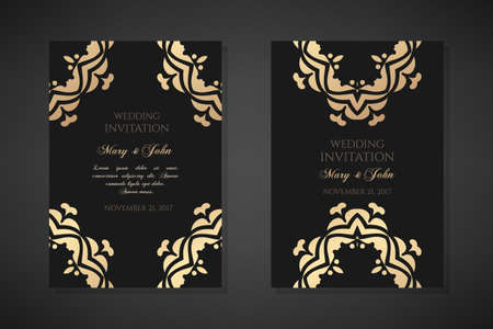 Wedding invitation templates. Cover design with ornaments and black background. Vector decorative vertical posters with copy space .. Vettoriali