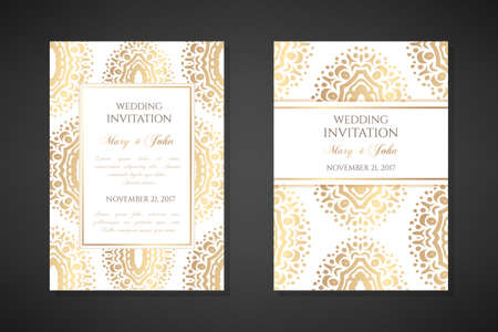 Wedding invitation templates. Cover design with ornaments and white background. Vector decorative vertical posters with copy space .. Vektoros illusztráció