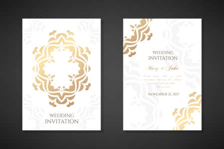 Wedding invitation templates. Cover design with ornaments and white background. Vector decorative vertical posters with copy space ..