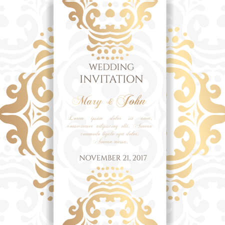 Wedding invitation templates. Cover design with ornaments and white background. Vector decorative card with copy space .. Vettoriali