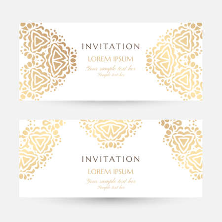 Invitation templates. Cover design with gold ornaments and white background. Vector decorative horizontal flayers with copy space ..