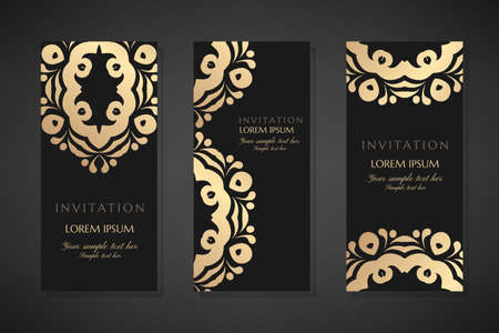 Invitation templates. Cover design with gold ornaments and black background. Vector decorative vertical flayers with copy space ..
