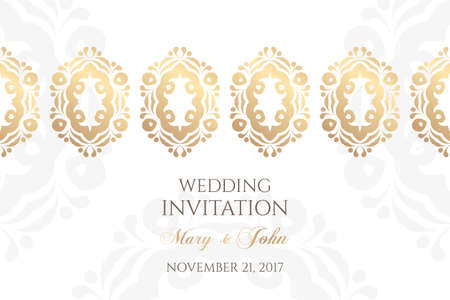 Wedding invitation templates. Cover design with ornaments and white background. Vector decorative horizontal banner with copy space ..