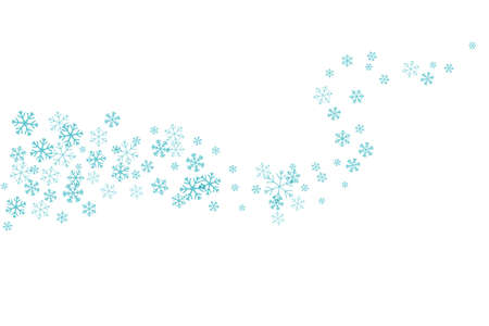 Flying snowflakes on the horizontal wavy path. Winter decoration element isolated on the white background