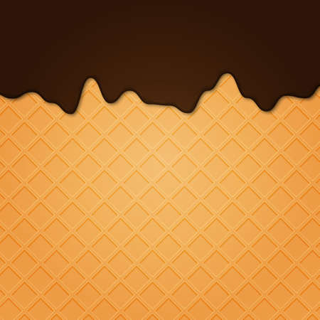 Waffle with liquid glaze. Vector background with waffle texture and chocolate cream border ..