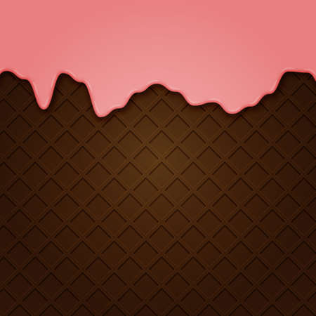 Waffle with liquid glaze. Vector background with chocolate waffle texture and strawberry cream border ..