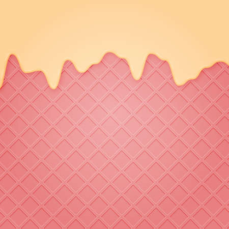 Waffle with liquid glaze. Vector background with strawberry waffle texture and vanilla cream or white chocolate border .. Vettoriali